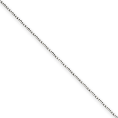 14kt White Gold 9in Cable Link Anklet 1.5mm