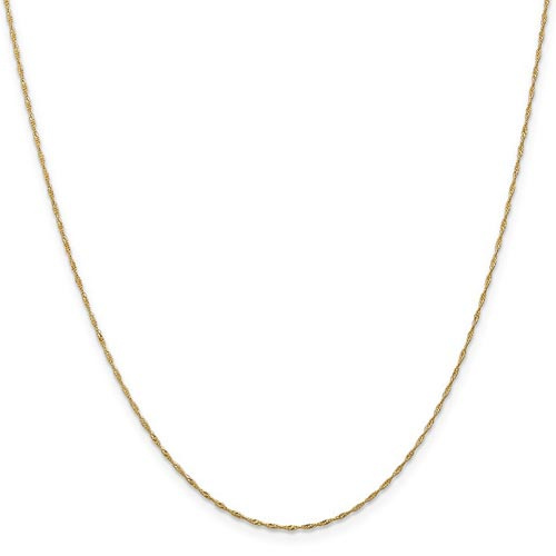 14k Yellow Gold 18in Singapore Chain 1mm
