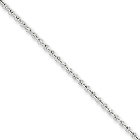 20in 14kt White Gold Cable Chain 2.2mm