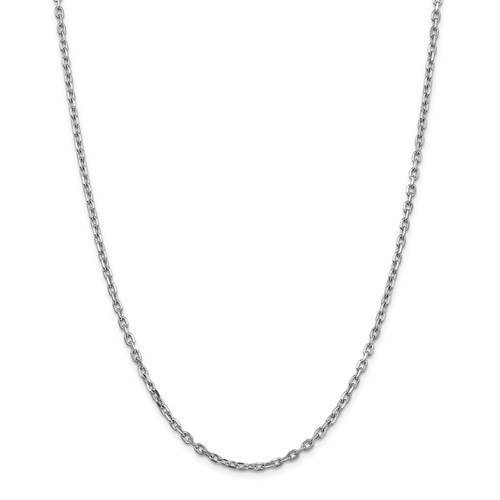 14k White Gold 16in Diamond-cut Cable Chain 3mm