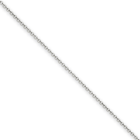14kt White Gold 24in Round Open Link Cable Chain .7mm