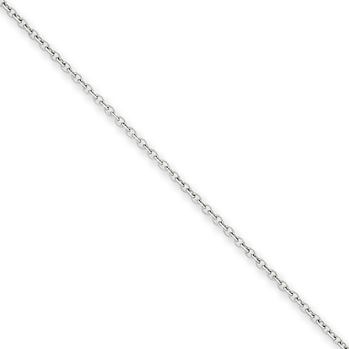 14kt White Gold 16in Round Open Link Cable Chain 1.3mm