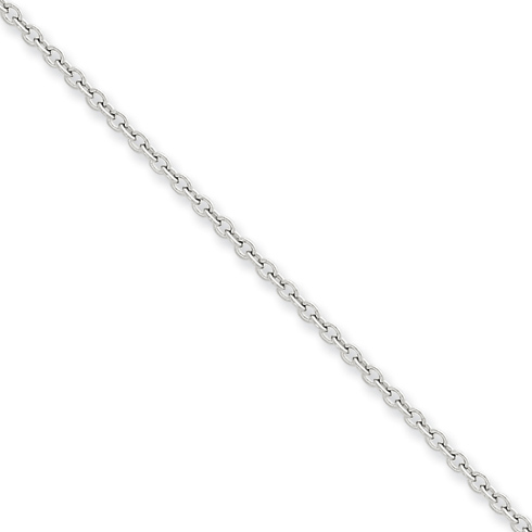 14kt White Gold 24in Round Open Link Cable Chain 2mm