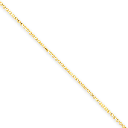 14kt Yellow Gold 16in Round Open Link Cable Chain .7mm