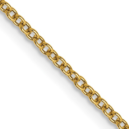 14kt Yellow Gold 18in Round Open Link Cable Chain 1.3mm