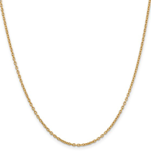 14kt Yellow Gold 24in Round Open Link Cable Chain 2mm
