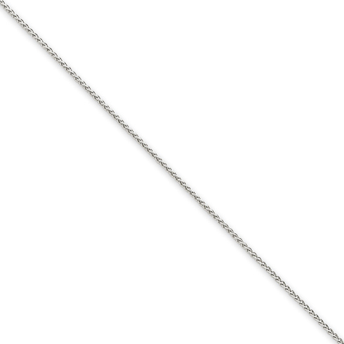 14kt White Gold 24in Round Wheat Chain 1mm