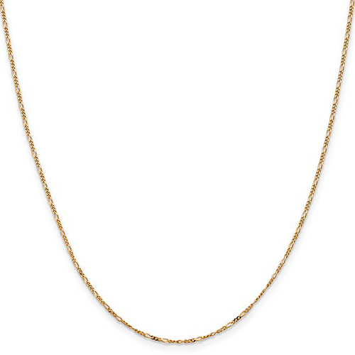 14kt Yellow Gold 24in Flat Figaro Chain 1.25mm