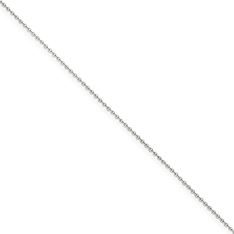 18in 14kt White Gold Cable Chain 1mm