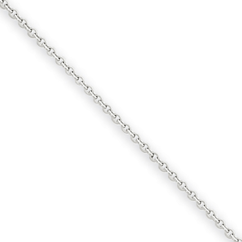 24in 14kt White Gold Cable Chain .80mm