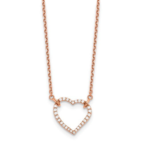 14k Rose Gold 2/5 ct True Origin Lab Grown Diamond Heart Necklace