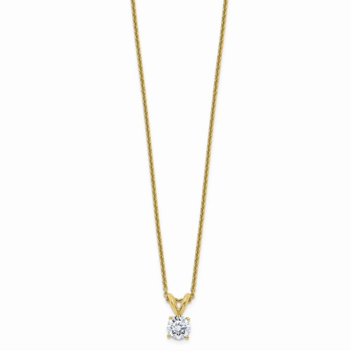 14k Yellow Gold 1/2 ct Lab Grown Diamond Solitaire Necklace