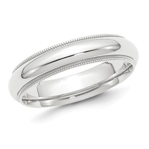 Platinum 5mm Comfort Fit Milgrain Wedding Band PMCF050 PLAT