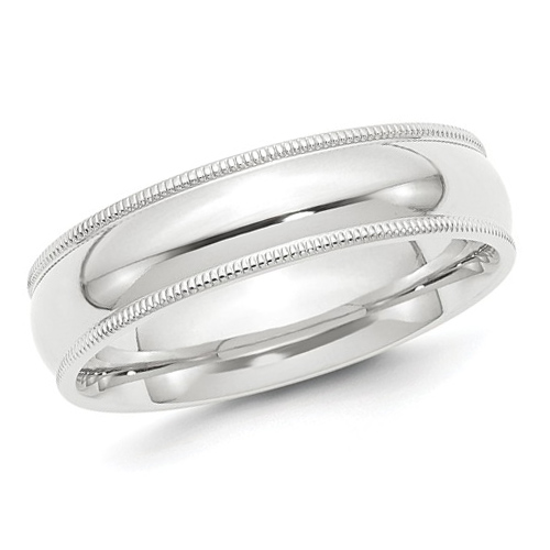 Milgrain Comfort Fit Wedding Ring In Platinum 6mm: Platinum 6mm Comfort Fit Milgrain Wedding Band PMCF060-PLAT