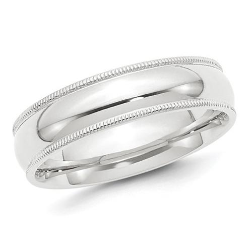 Platinum 6mm Comfort Fit Milgrain Wedding Band