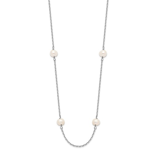 14k White Gold 4mm Freshwater Cultured Pearl 8-Station Necklace