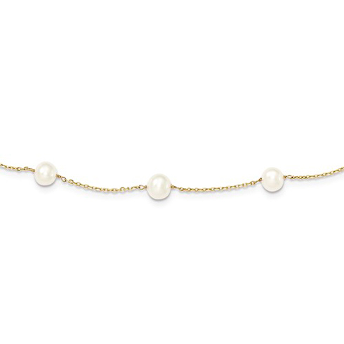 14kt Yellow Gold 12-Station 5mm Freshwater Pearl 16in Necklace