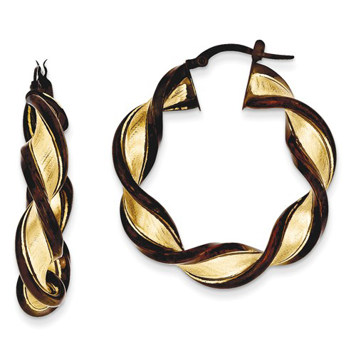 14kt Yellow Gold 1in Italian Brown Twisted and Etched Hoop Earrings