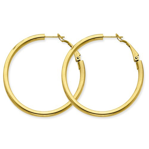 14kt Yellow Gold 1 1/2in Smooth Round Hoop Earrings 3mm