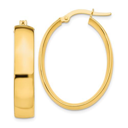 14kt Yellow Small Italian Oval Hoop Earrings