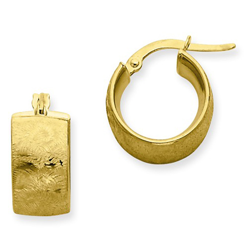 14kt Yellow Gold 3/8in Etched Huggie Earrings 7.75mm