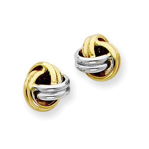 14kt Two-tone Gold 1/4in Love Knot Earrings