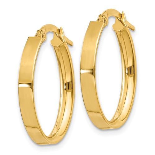 14kt Yellow Gold 3 4in Italian Oval Hoop Earrings Pre556