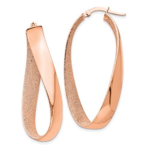 14kt Rose Gold 1 5/8in Italian Twisted Hoop Earrings