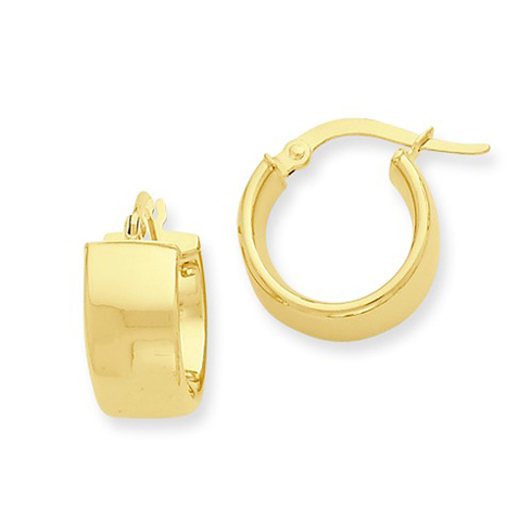 14kt Yellow Gold 3/8in Italian Huggie Hoop Earrings 6.75mm