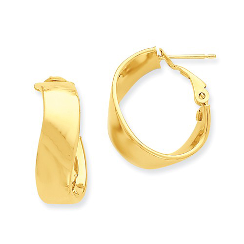 14kt Yellow Gold 5/8in Twisted Polished Oval Hoop Earrings