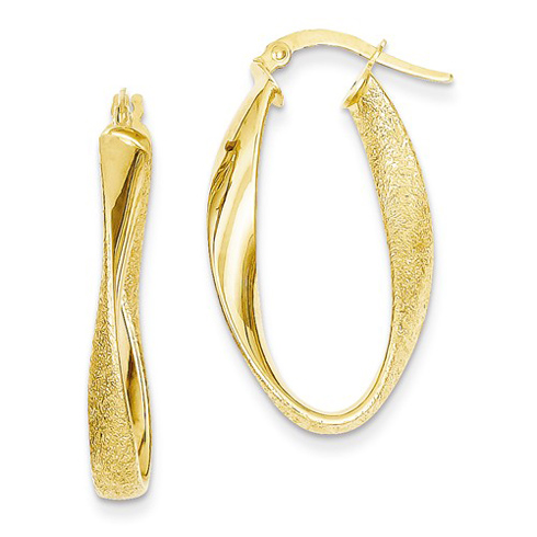 14kt Yellow Gold 1in Oval Laser-cut Hoop Earrings