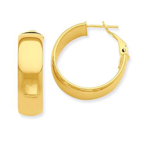 14kt Yellow Gold 1in Italian Round Hoop Omega Earrings 7.75mm