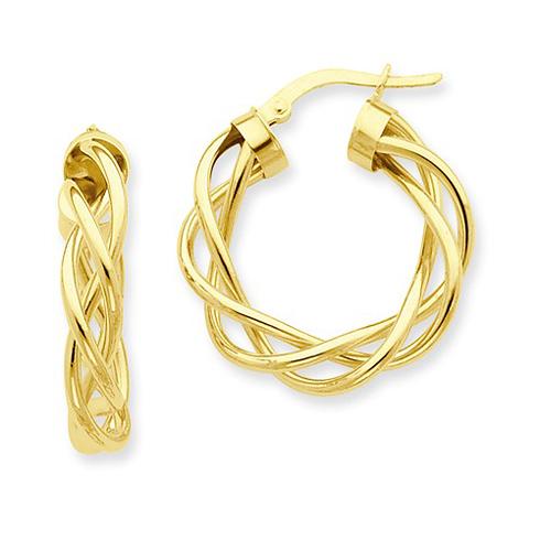 14kt Yellow Gold 1in Italian Open Twisted Hoop Earrings