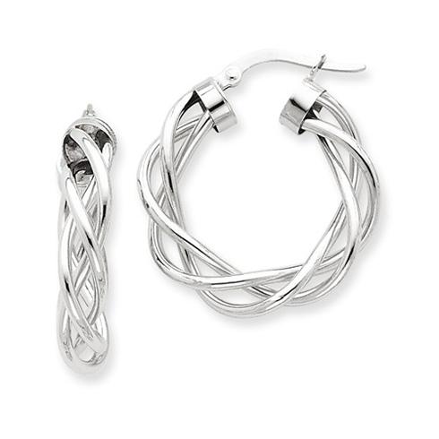 14kt White Gold 1in Italian Open Twisted Hoop Earrings