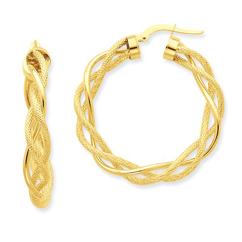 14kt Yellow Gold 1in Italian Twisted Polished and Textured Hoop Earrings