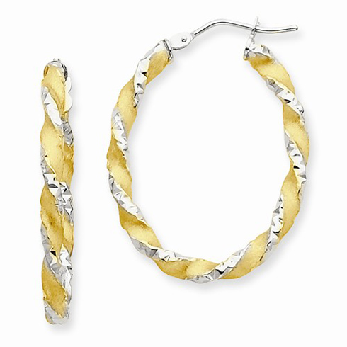 14kt Two-tone Gold 1 1/8in Twisted Hoop Earrings