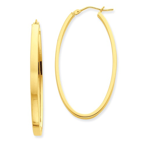 14kt Yellow Gold 1 3/4in Smooth Oval Hoop Earrings