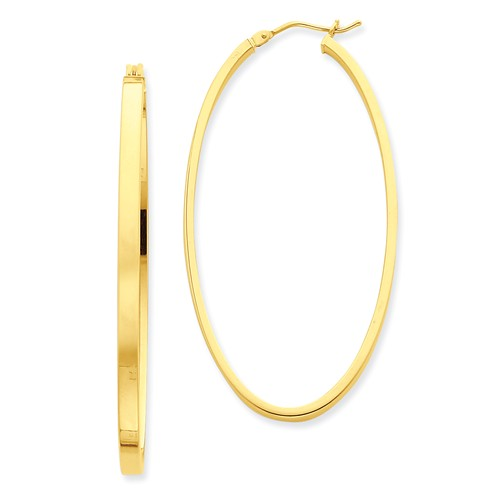 14kt Yellow Gold 2in Smooth Oval Hoop Earrings