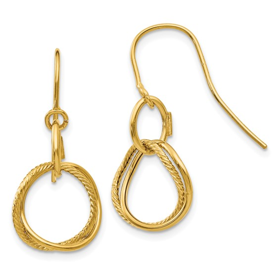14kt Yellow Gold Italian Twisted Circle Dangle Earrings