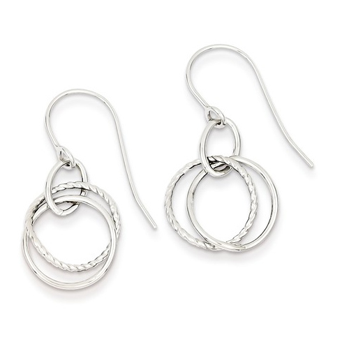 14kt White Gold Italian Twisted Circle Dangle Earrings