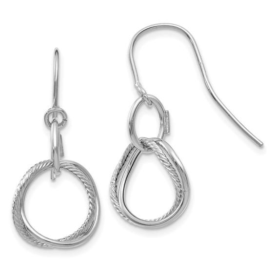 14kt White Gold Italian Twisted Circle Dangle Earrings