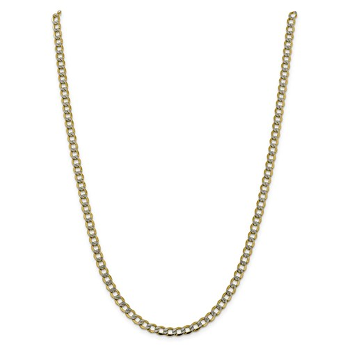 14k Yellow Gold with Rhodium Pave 22in Curb Chain 5.2mm