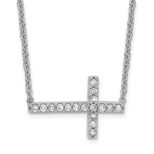 Sterling Silver .13 ct tw Diamond Petite Sideways Cross Necklace