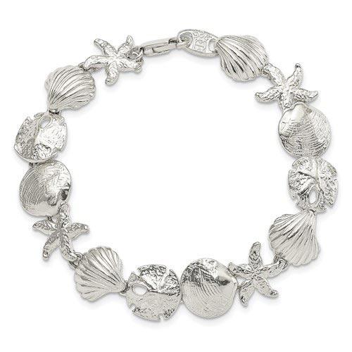 Sterling Silver 7in Seashells Bracelet