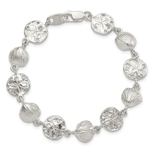 Sterling Silver 7in Seashells and Sand Dollars Bracelet
