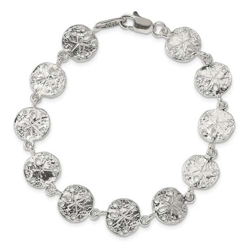 Sterling Silver 7in Sand Dollars Bracelet