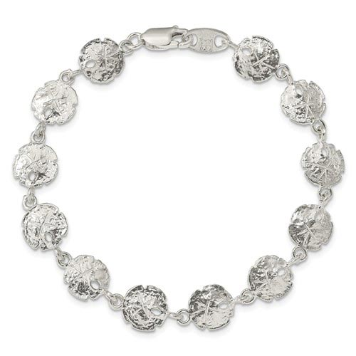 Sterling Silver Sand Dollars Charm Bracelet 7in