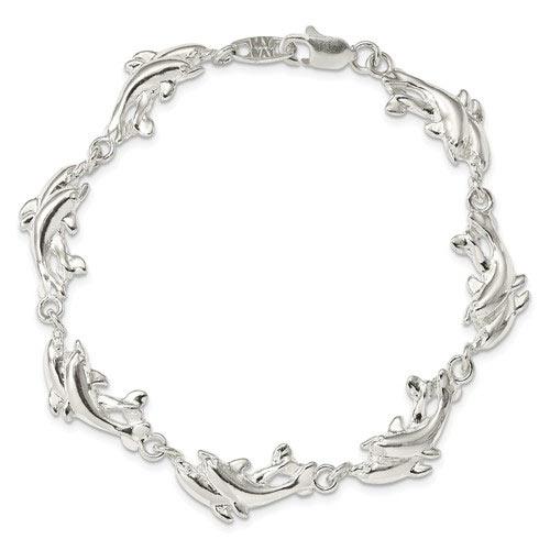 Sterling Silver 7in Dolphin Charm Bracelet