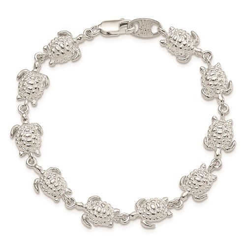 Sterling Silver 7in Sea Turtles Bracelet
