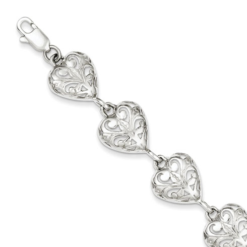 Sterling Silver Fancy Heart Bracelet with Scroll Design 7in
